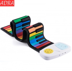 ADRA Hand Rolling Piano 49Keys Adult Portable Folding Piano Silicone Beginner Keyboard Instrument Rainbow DC5V One Size