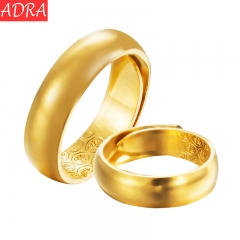 ADRA 18K Gold Plated Domed Ring Adjustable Ring Wedding Ring For Lover and Friend Golden 6MM 1Piece