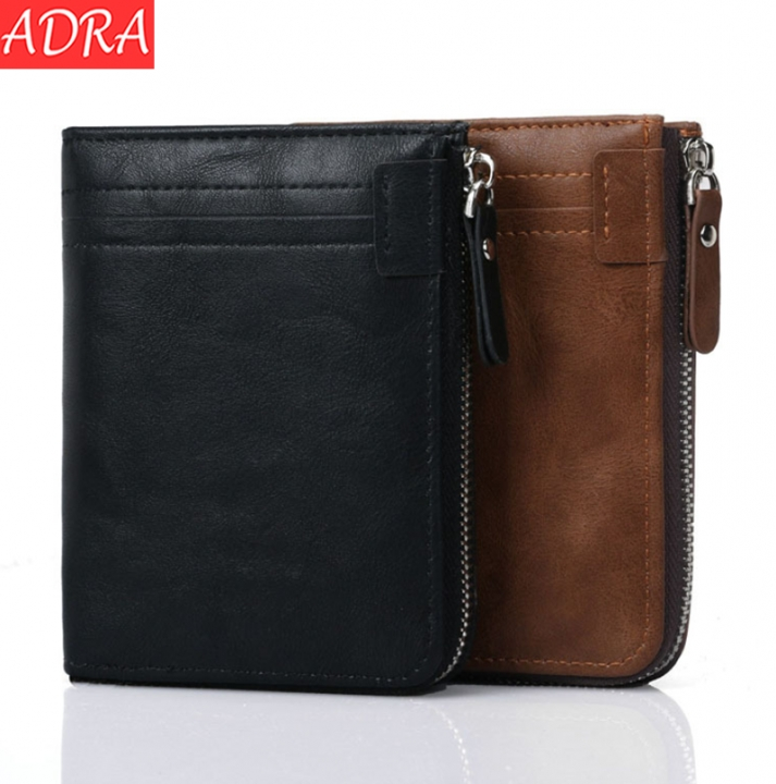 ADRA Men Fashion Casual Wallet Short Wallet RFID Zipper Multi Card PU Wallet Black One Size