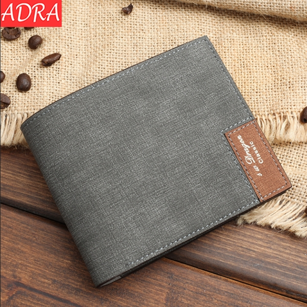ADRA Men Ultra-thin Short Wallet Cross Section Soft Wallet Simple Personality Of Students Black One Size