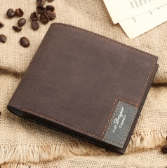 ADRA Men Ultra-thin Short Wallet Cross Section Soft Wallet Simple Personality Of Students Brown One Size