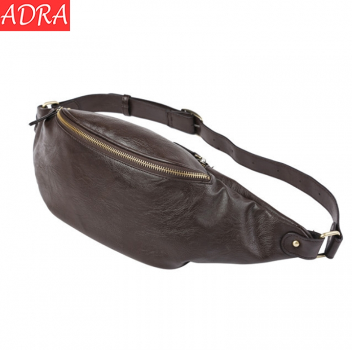 ADRA Fashion Leather Purse Men's Chest Bag Outdoor Leisure Small Pockets Brown 26*10*11CM
