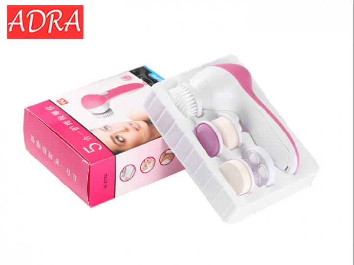 1pcs 5 in 1 Electric Wash Face Machine Facial Pore Cleaner Body Cleaning Massage Mini Skin Beauty Pink