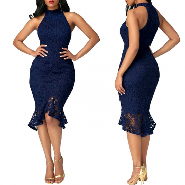ADRA Fashion Fishtail Dress Lace Stitching Solid Color Sexy Dress S Blue