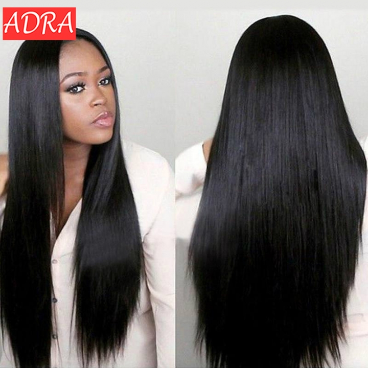 27/31/39 inches Long Straight Hair Wig Full Wig Synthetic for Women Middle Part Heat Resistant Black 27 inch