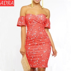 ADRA Sexy Print Wrapped Chest Dress Fashion Slim Dance Skirt S As Pictures