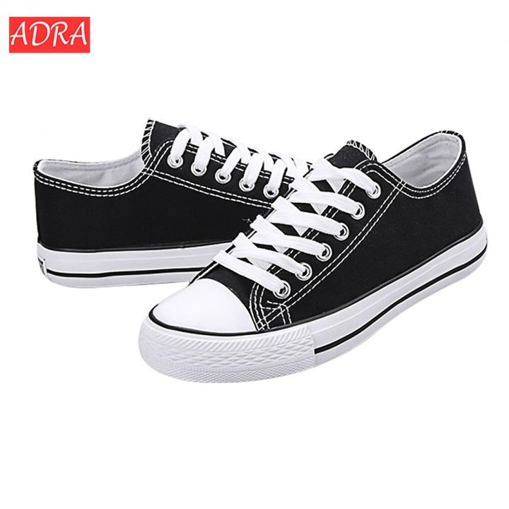 ADRA Classic Low Top Canvas Sneakers Sport Leisure shoes Trainer Men Women Unisex Couple shoes Black 35