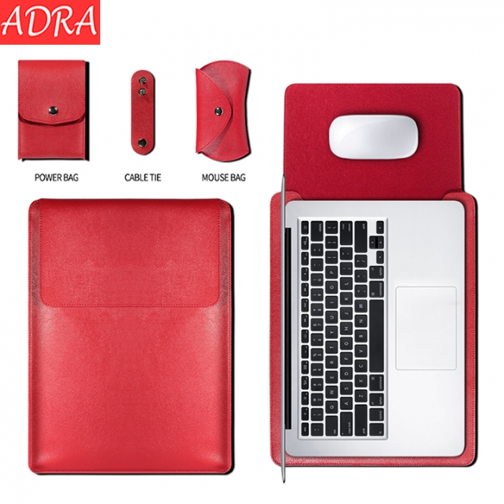 ADRA Macbook Air 12/13/15 inch Protective Cover Apple Laptop Bag Pu Liner Bag Red