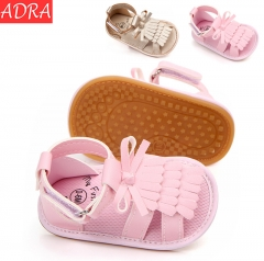 ADRA Baby Sandals Toddler Shoes Pu Fringed Anti-skid Rubber Sole Baby Shoes Pink 11cm