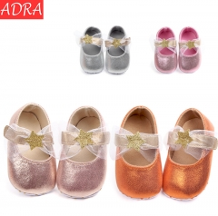 ADRA Soft bottom Baby Shoes Glitter Pentacle Princess Shoes Toddler Shoes Peach Pink 11cm