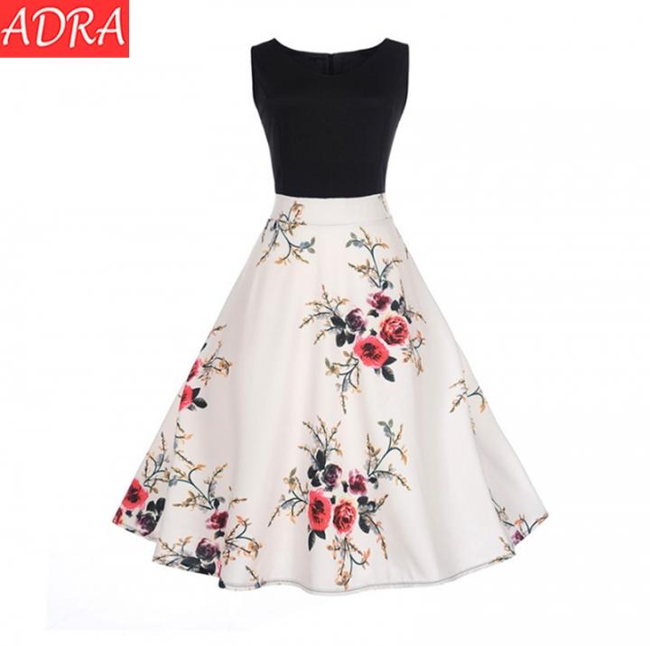 ADRA Vintage Stitching Print Dress Sleeveless Skirt Dress Women Party Dress s White