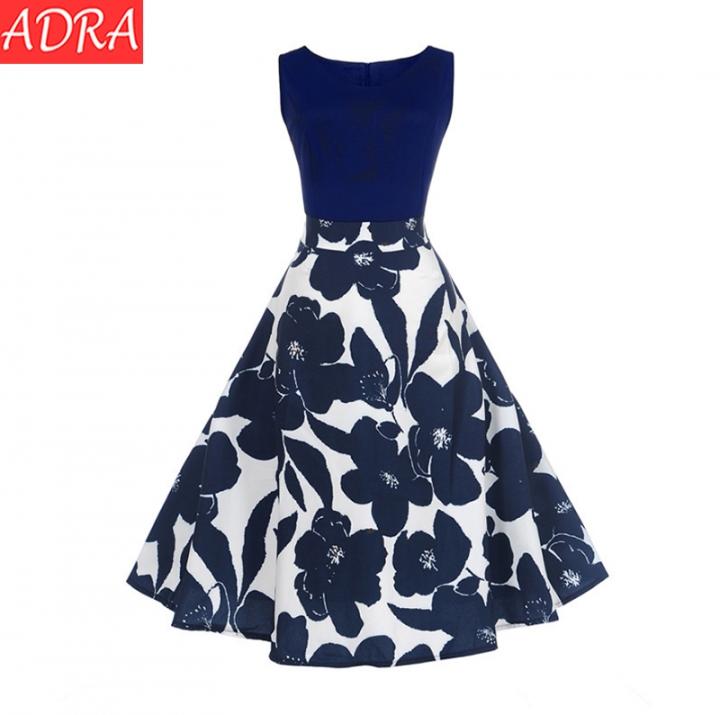ADRA Large Size Ladies Dress Sleeveless Retro Print Dress S-5XL S Navy Blue