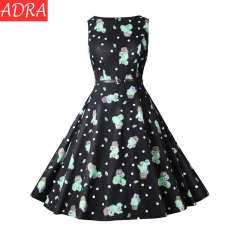 ADRA Waist Large Skirt Cactus Print Vintage Dress Sleeveless Skirt Dress S As Pictures