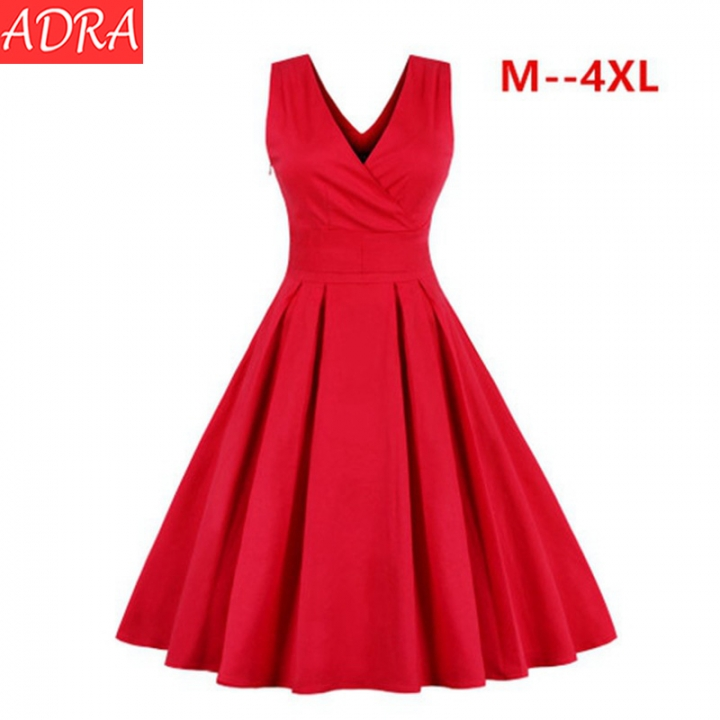 ADRA Sleeveless V-neck Dress Wrap Chest Retro Dress Princess Dress Large Size Women Dress M Red