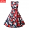 ADRA Round Neck Retro Printed Red Dress Party Hosted Ladies Dress S Red Ribbon