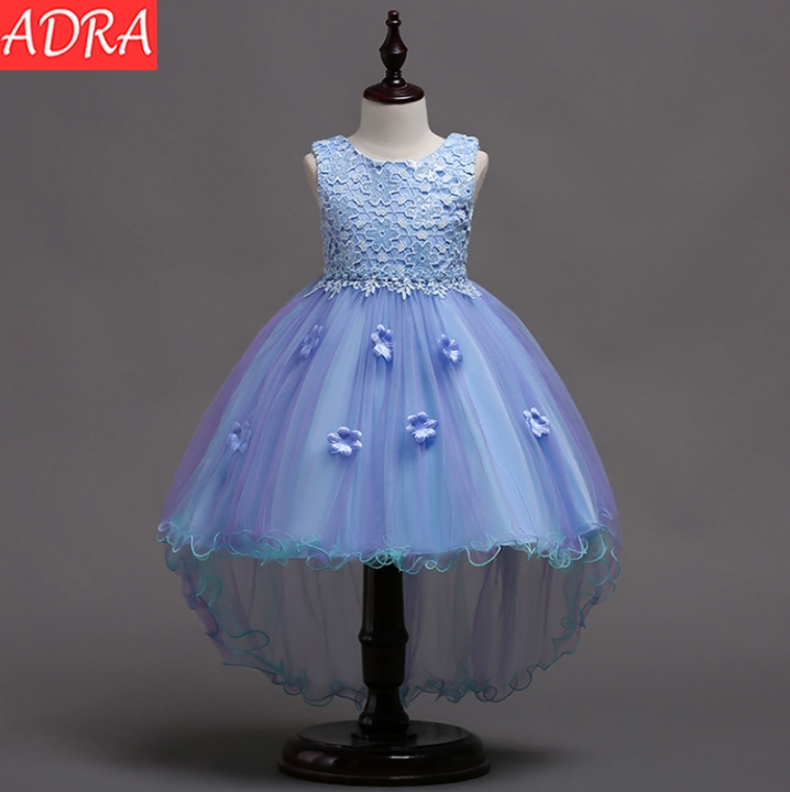 ADRA Children's Dress Lace Skirt Dress Skirt Flower Children's Wedding Princess Dress Light Blue 110cm