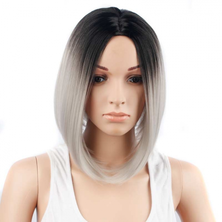 ADRA 13 inch women unique short gradient color wig party hair sexy wear new style wigs white 13inch