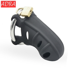 Male Penis Cage Chastity Device Silica Gel Cock Cage Stainless Steel Adjustable Penis Ring sex toy black l