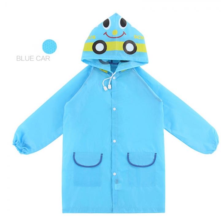 ADRA Cartoon Baby Children Kid Boy Girl Hooded Rain Coat Raincoat Jacket 5 Colors blue one size