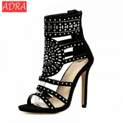 Women Sandals Open Toe High Heels Hollow Gladiator Sandalias Rhinestone Crystal Diamond Shoes 42 black 35