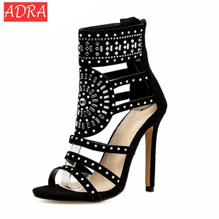 35-42 Women Sandals Open Toe High Heels Hollow Gladiator Sandalias Rhinestone Crystal Diamond Shoes black 35