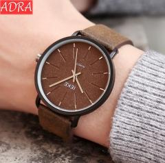 ADRA Simple Men's Watch Personality Fashion Belt Watch Waterproof Student Watch Quartz Watch Dark brown Dial Diameter 4.5CM