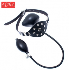 ADRA Latex Inflatable Adjustable Ball Mouth Gag Black Mouth Gag Bondage Restraint BDSM Kit Sex Toys as picture adjustable