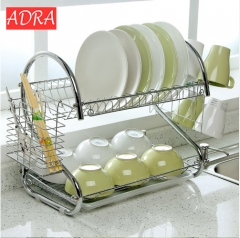 1 pc 2 Layer Dish Rack S-Shaped Tableware Shelf Plate Cutlery Cup Rack Drain Bowl Rack Kitchen Shelf as picture one size