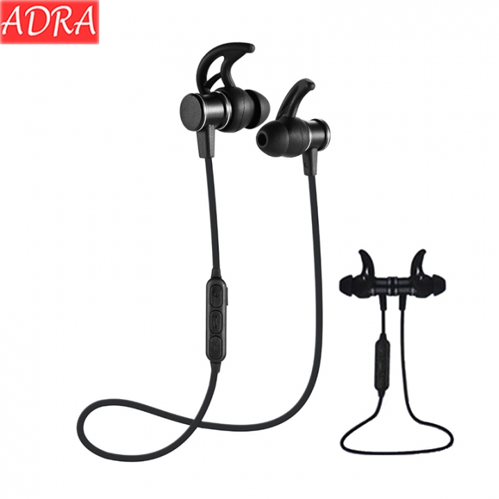 ADRA Wireless Sports Bluetooth Headset Heavy Bass In-ear Mobile Phone Universal Magnetic Headphones Black One Size