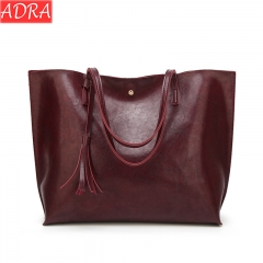 ADRA Women Bag Fashion Pu Shoulder Bag Shopping Bag Portable Ladies Big Bag Wine Red One Size