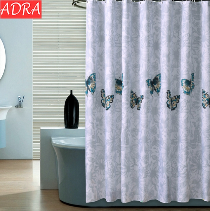 ADRA Butterfly Flying Pattern Thick Waterproof And Mildewproof Polyester Shower Curtain As Pictures W0.8*H1.8m