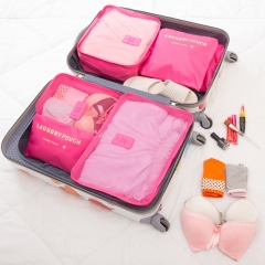 6PCS/Set Oxford Cloth Travel Mesh Bag In Bag Luggage Organizer Packing for Clothing rose red six sets