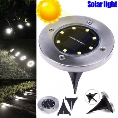 ADRA Waterproof LED Solar Power Buried Light 8 LEDs Ground Lamp Outdoor Path Way Garden Decor 8 led - Yellow light 1pcs