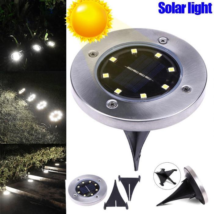 ADRA Waterproof LED Solar Power Buried Light 8 LEDs Ground Lamp Outdoor Path Way Garden Decor 8 led - Yellow light 1pcs