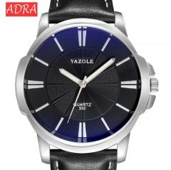 Fashion Faux Leather Mens Analog Quarts Watches Blue Ray Men Wrist Watch  Luxury Casual Watch Clock black black 45mm