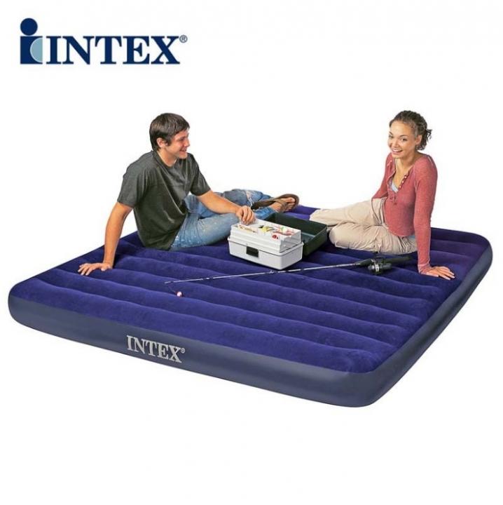 INTEX Flocking Air Mattress air bed Tent Camping Mat Automatic Inflatable cushion flocked top 68950