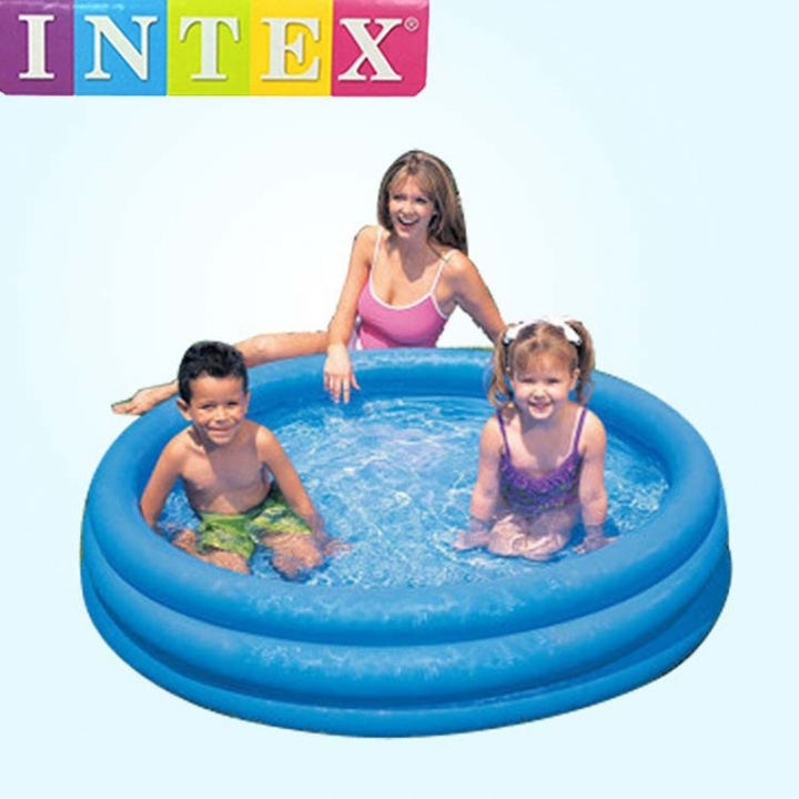 INTEX big size 3 ring pvc inflatable above ground pool family kid child swimming water play pool blue 168x41cm one size