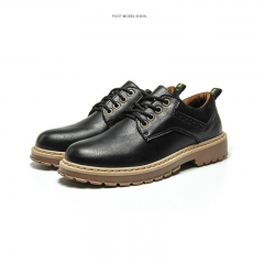 Men's Boots High Quality Martin Boots pu Leather Shoes Outdoor Casual Fashion Ankle Boot Lace-up Black 39
