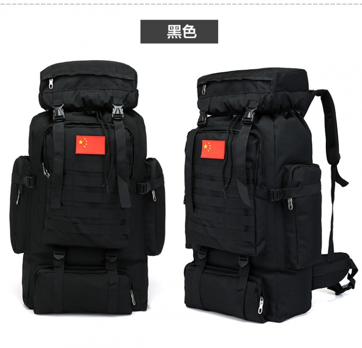 80L Large Capacity Mountaineering Backpack Camping Hiking Military Camo Waterproof Tactical Bag black one size