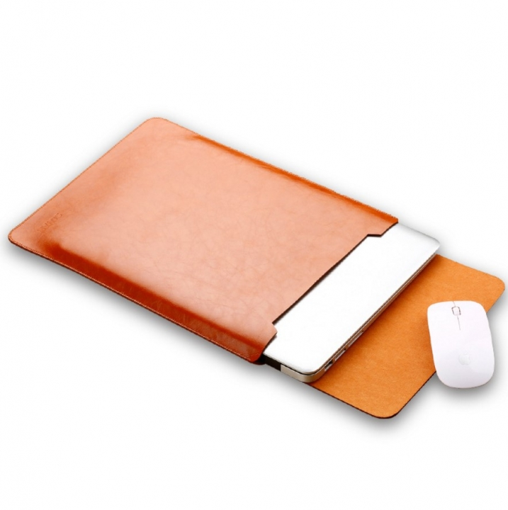 ADRA macbook air/pro 11/12/13/15 inch Protective Laptop Bag Pu Case Cover Computer Pouch Mouse Pad brown air 11.6 inch