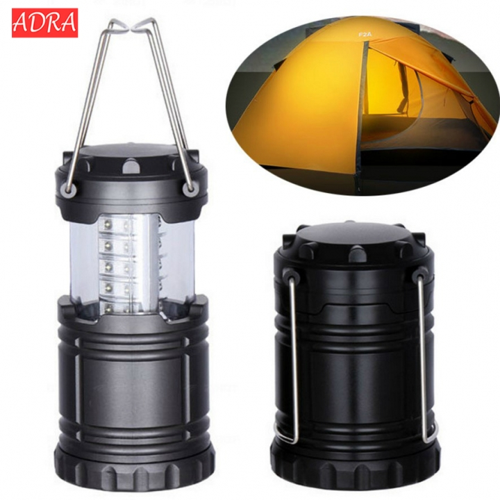 Collapsible 30 LED Lightweight Portable Camping Lantern Hanging Tent Flashlight  For Hiking Camping black one size