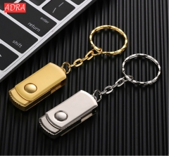 USB 2.0 flash drive Stainless Steel pen drive Metal pendrive usb stick with keychain thumbdrive Gold USB 2.0 4GB