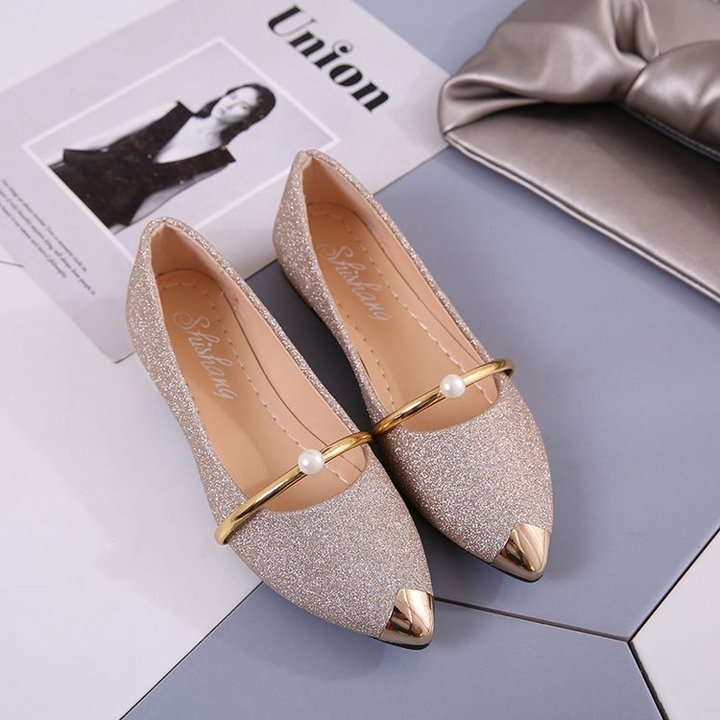 Hot Pointed Flat Shoes Ladies Casual Office Shoes Metal Sequins Pearl Nurse Shoes Women gold 35