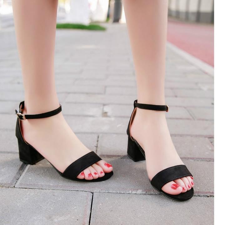 Summer Gladiator Sandals Women Square Heels Sandals Party Wedding Shoes Korean Style black 35