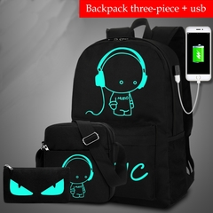 Outdoor Travel Sets Bag Anti-theft Computer Laptop Backpack USB Charge School Bag 3Pcs/set Music kid S
