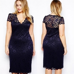 S-5XL Big Size Dresses  Elegant Short Sleeve Midi Lace Dress Women Office Work Dresses Party Vestido s blue