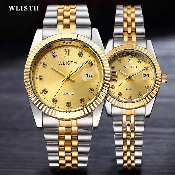 High-End WLIStH Brand 2 PCS Set Couples Wrist Watch Men Women Lovers Waterproof Quartz Wristwatches golden and silver 2pcs (1 male and 1 female)