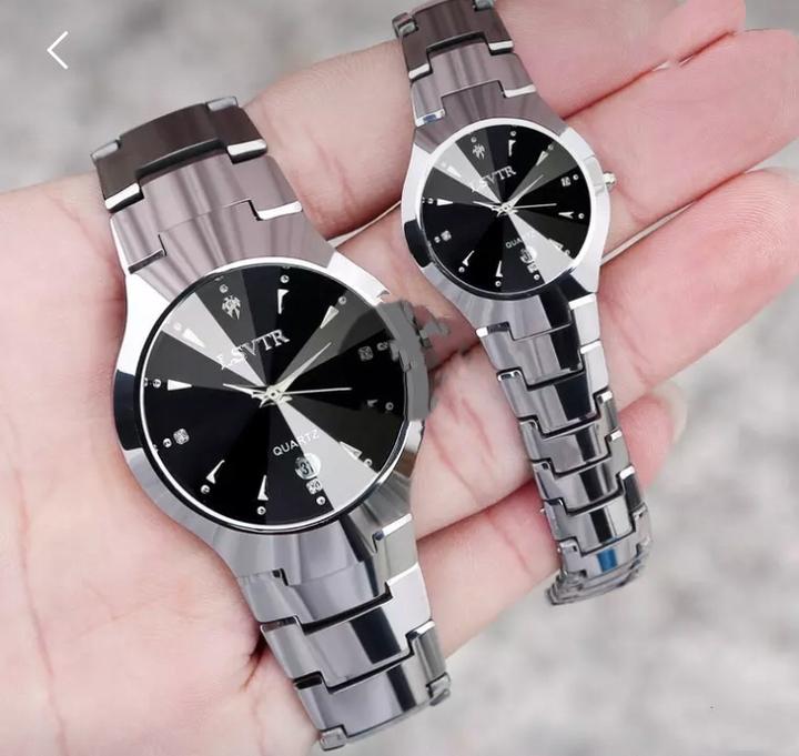 LSVTR Brand 2 PCS Set Couples Wrist Watches Men Women Lovers Waterproof Quartz Wristwatches silver 2pcs (1 male and 1 female)