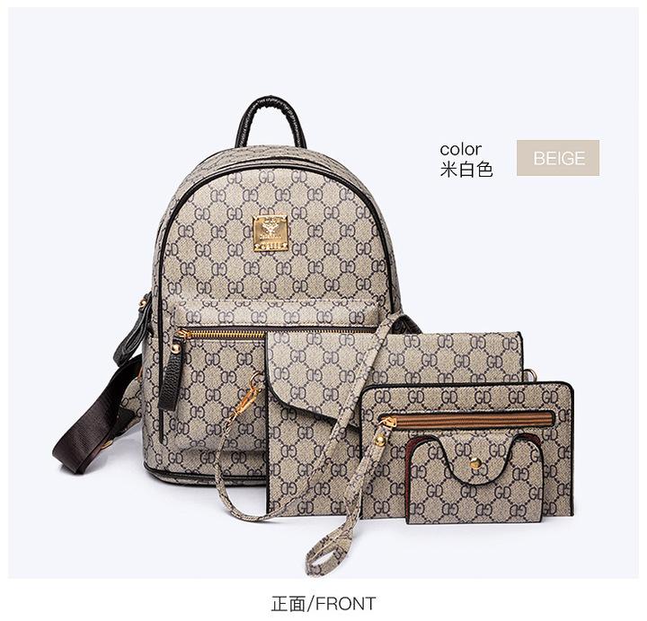 Fashion Composite Bag Leather Backpack Women Luxury 4 Sets Bag shoulder Bag For Girls Beige one size