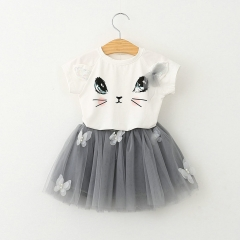 Baby Kids Girls Clothing Cartoon Kitty T-Shirt+Tutu Skirt Toddler Set CR002A gray 130